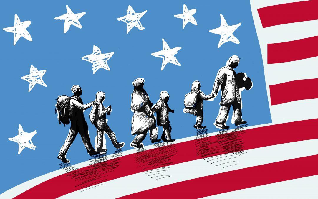 Illustration of immigrants walking across the U.S. flag
