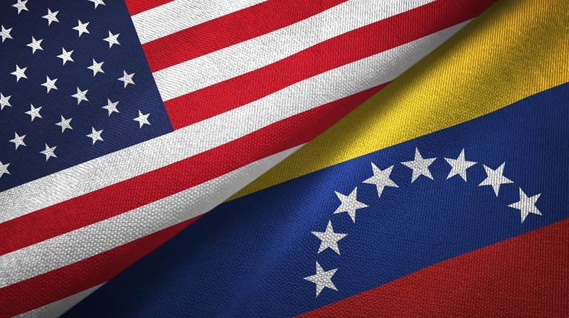 United States and Venezuela flags together